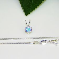 5mm Round Mercury Mystic Topaz Sterling Silver Pendant w/Chain Necklace