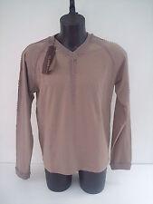 T-shirt Roberto Cavalli,colore beige,scollo v, ricamo a mano,tg 52