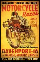 VINTAGE FLAT TRACK MOTORCYCLE RACING 12x18 POSTER INDIAN-MERKEL GREAT GRAPHICS