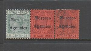 Morocco Agencies (Gibraltar Issues) - 3no. different stamps 1898-1907 (CV $21)