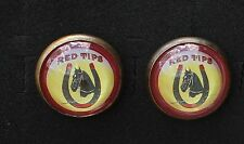 """34-54 - Pair vintage 1 3/4"""" domed glass bridle rosettes Red Tips Horseshoes"""