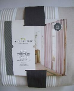 "Threshold, One Striped Window Panel, Tan Stripe, 54""W x 84""L Curtain NEW"