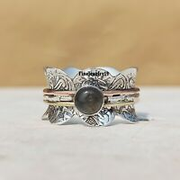 Labradorite 925 Sterling Silver Spinner Ring Meditation Statement Jewelry A33