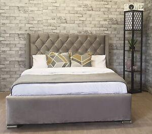 Plush Velvet Bed Frame Studded Wing Upholstered Fabric - Free Delivery