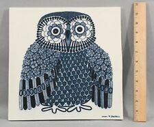 Large Mid-20thC Raija Uosikkinen Arabia Finland Finish OWL Porcelain Tile