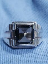 Vintage Sterling Silver Smokey Quartz Ring Band New Old Stock Size 10 B
