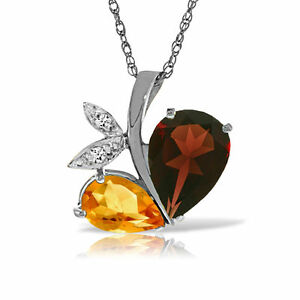 Genuine Garnet, Citrine Gems & Diamonds Heart Pendant Necklace in 14K Solid Gold