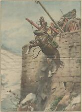 K1277 Cavallo con carretto sfonda parapetto presso Borgosesia - Stampa del 1934