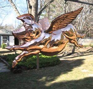 Hanging 3D Flying Pig Sculpture Polished Copper