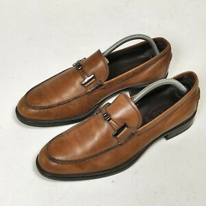 Tods Light Brown Horsebit Leather Loafers  Uk 8.5 Us 9.5