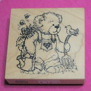Vintage PSX Wooden Rubber Ink Stamp for Card Making, Teddy Bear in Garden, USA