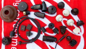 Vintage Bakelite,, valve radio socket adapters , power plugs, white, brown