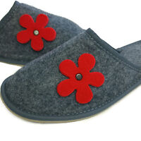 Ladies Women's Girls Red Flower Slippers Valentine's Day Gift Present for Her