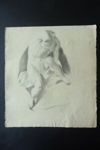 FRENCH NEOCLASSICAL SCH. 18thC - STUDY CLASSICAL FIGURE/MALE NUDE - CHARCOAL