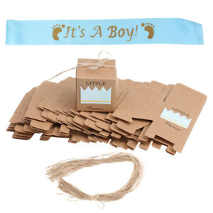 50x Kraft Paper Candy Box Favors+It's a Boy Sash for Baby Shower Baptism