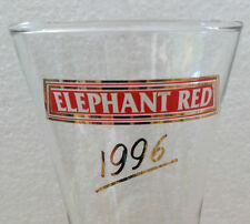 VINTAGE ELEPHANT RED 1996 BEER GLASS Wide Mouth Rare Malaysia