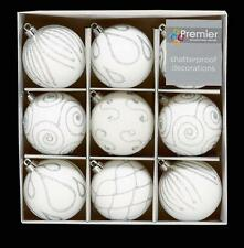 Christmas Tree Decoration 9 Pack 60mm Shatterproof Baubles - White