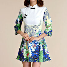 Women Oriental Style Festive Flag Dress 3/4 Sleeve AU Size 8 10 12 14 16 18 5599