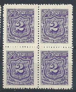 El Salvador 1898 Sc# J34 vio 2c Postage due block 4 MNH