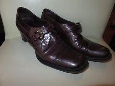 Pollini 36.5 plum crocodile embossed leather pumps