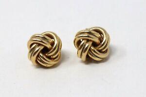 Great Pair of Vintage 9ct Yellow Gold 375 Ladies Knot Stud Earrings #032