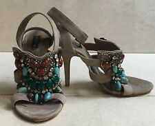 ETRO Jeweled Beige / Taupe Suede leather Ankle Strap Sandals Shoes 37