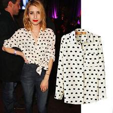 HEART-PRINT Sheer Shirt Blouse