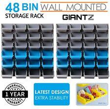 Bin Rack Wall Mounted Tool Parts Garage Unit Shelving Organiser 48 Storage