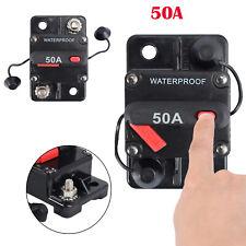 50A AMP Circuit Breaker Dual Battery Manual Fuse Reset IP67 12V-24 Volt Car Boat