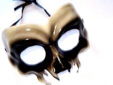 MASQUERADE ADULT SCARY BLACK GLOSSY PLASTIC HALLOWEEN SKELETON SKULL EYE MASK