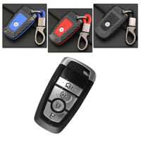 Carbon Fiber Design Shell+Silicone Cover Holder Fob Case  For  Ford Remote Key H