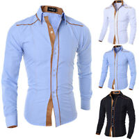 Stylish Mens Casual Slim Fit Shirt Top Long Sleeve Dress Formal Shirt T-shirt