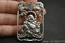 "Collectible Handwork Tibet Silver Carving Maitreya Buddha Blessing ""福"" Pendant"