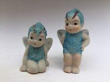 Vtg Coralene Pixie Fairy Sugar Baby/Snowbabies Figurines-Mij-Japan-Set of 2