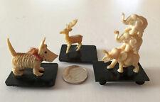 Vintage Japanese Ivorene Carved Animals Elephants Reindeer Scottish Terrier Dog
