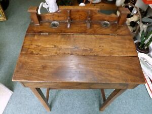 Antique Arts and Crafts Style School Desk in Elm With Hinged Writing Slope