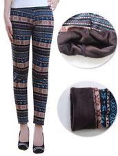 Damen Warme Norweger Design Fleece Winter Thermo Leggings Muster S/M