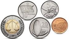 GHANA CURRENCY SET - 5 COINS 1, 5, 10, 25 PESEWA, 1 CEDI BIMETAL 2007 2012 UNC