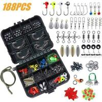 188 pcs Fishing Kit Set with Tackle Box Pliers Hooks Sinker Weights Swivels Snap