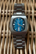 Seiko 3003 Vintage Quartz Watch From 1973 Day Date Beautiful Blue Dial 3863 5009