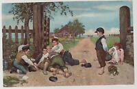 1907 Sweden Color Postcard Cover to Helsinki Finland Children playing