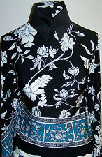 Black White and Turquoise Floral Border Lycra Stretch Fabric 44 by 60 inches