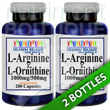 L-Arginine and L-Ornithine 1000mg/500mg 2X200 Caps by Vitamins Because