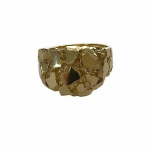 14k Solid Yellow Gold Men Nugget Ring Sz 10