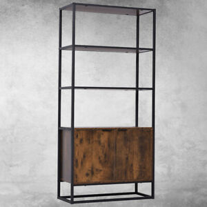 Vintage Tall Bookcase Cabinet Industrial Display Storage Shelving Unit Furniture