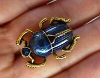 Scarab beetle brooch gold plate blue enamel dainty vintage style bug pin gift