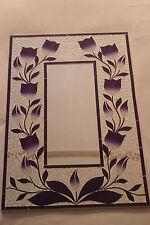 SUPERBA A Mano Mosaico Specchio Con Viola tulipani COLORI 60 x 40 cm