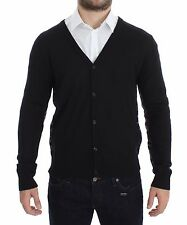 NEW $360 GALLIANO Black Wool Button Down Logo Cardigan Sweater Pullover Top 2XL