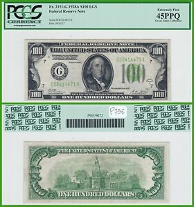 1928A Light Green Seal $100 Federal Reserve Note PCGS 45 PPQ Extremely Fine LGS