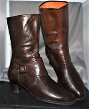 Born Brown Victorian Leather Zip Mid-Calf Boots Womens US 9.5 Eur 41 Style W6110